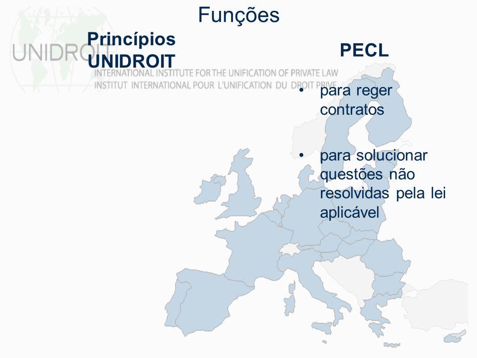 Funções Princípios UNIDROIT PECL para reger contratos