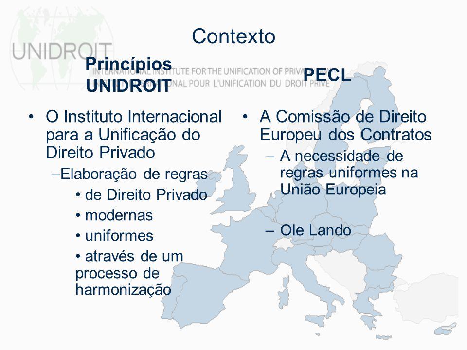 Contexto Princípios UNIDROIT PECL