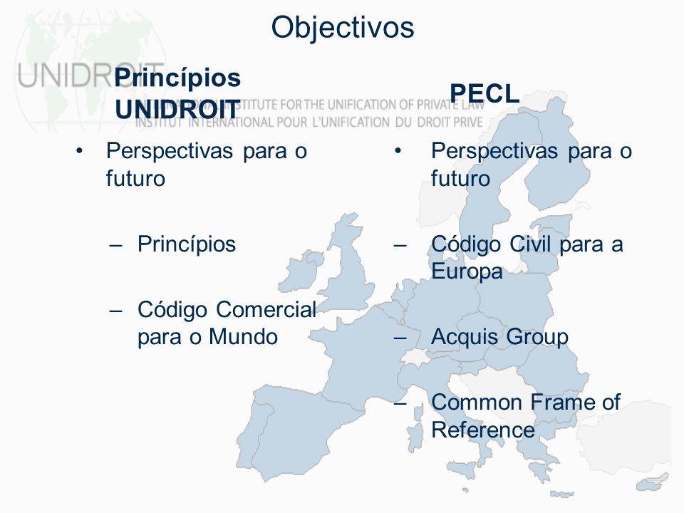 Objectivos Princípios UNIDROIT PECL Perspectivas para o futuro
