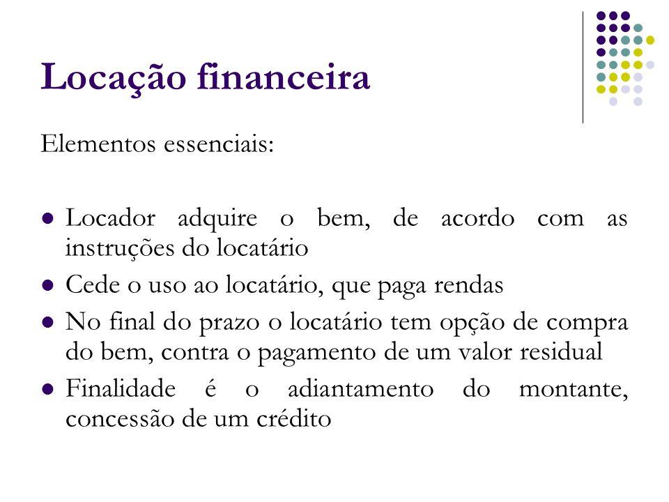 Locação financeira Elementos essenciais: