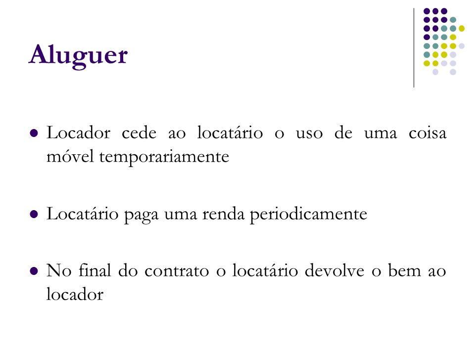 Aluguer Locador cede ao locatário o uso de uma coisa móvel temporariamente. Locatário paga uma renda periodicamente.