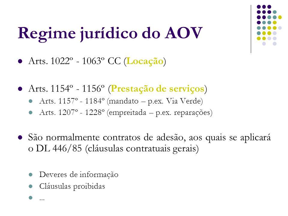 Regime jurídico do AOV Arts. 1022º - 1063º CC (Locação)