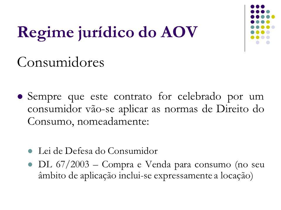 Regime jurídico do AOV Consumidores