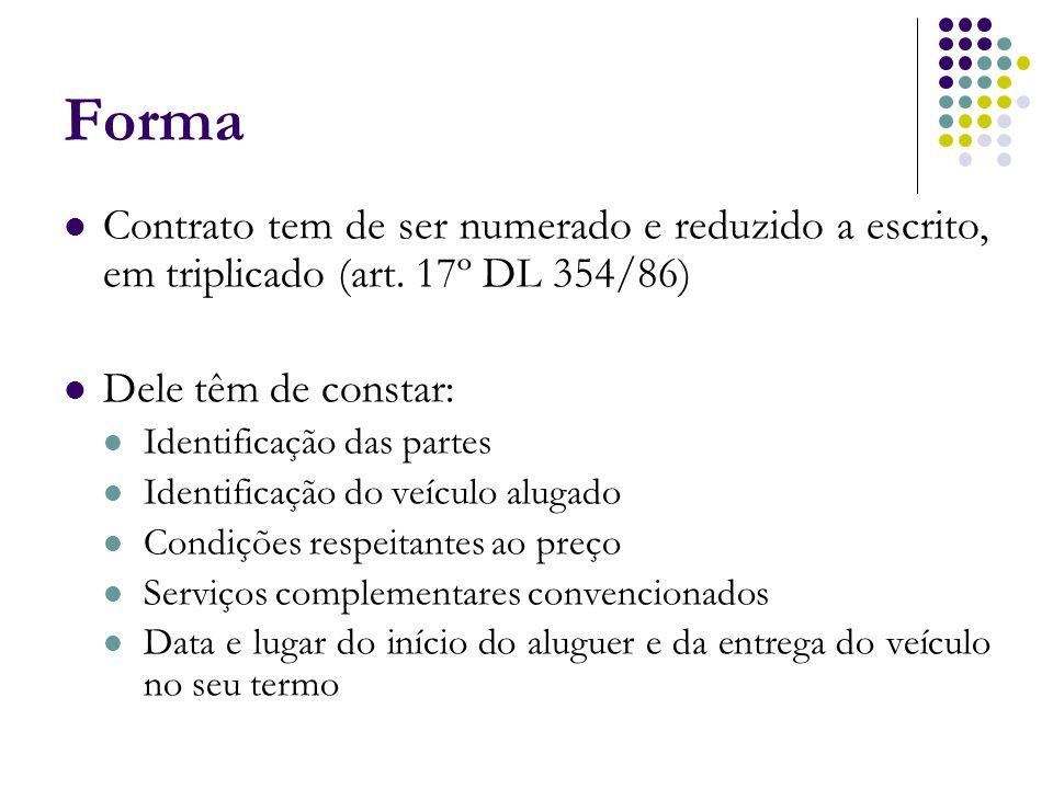 Forma Contrato tem de ser numerado e reduzido a escrito, em triplicado (art. 17º DL 354/86) Dele têm de constar: