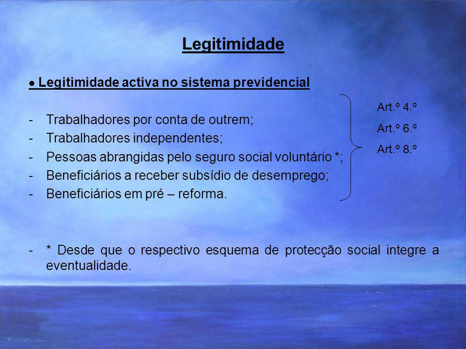 Legitimidade  Legitimidade activa no sistema previdencial