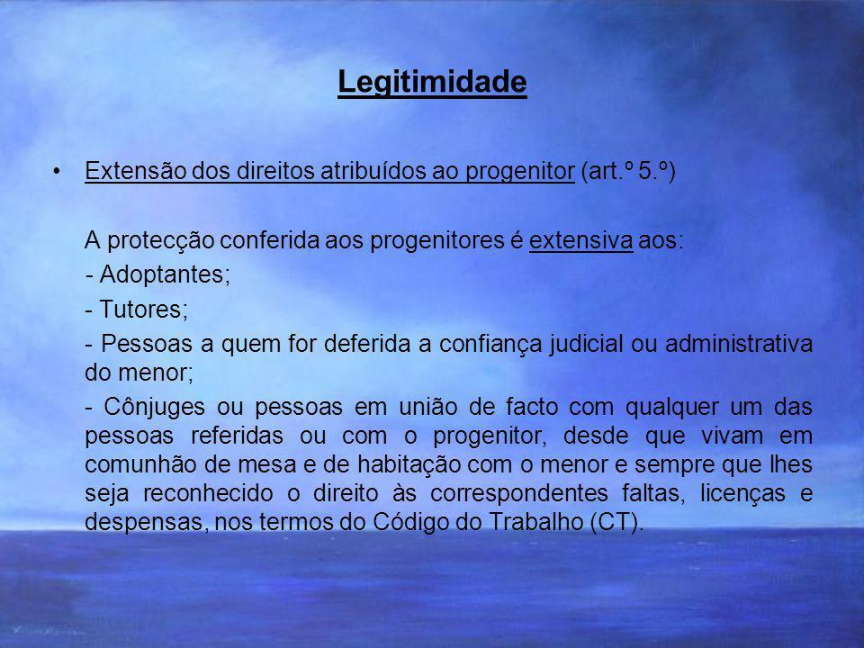 Legitimidade Extensão dos direitos atribuídos ao progenitor (art.º 5.º) A protecção conferida aos progenitores é extensiva aos: