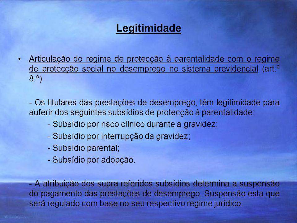 Legitimidade Articulação do regime de protecção à parentalidade com o regime de protecção social no desemprego no sistema previdencial (art.º 8.º)