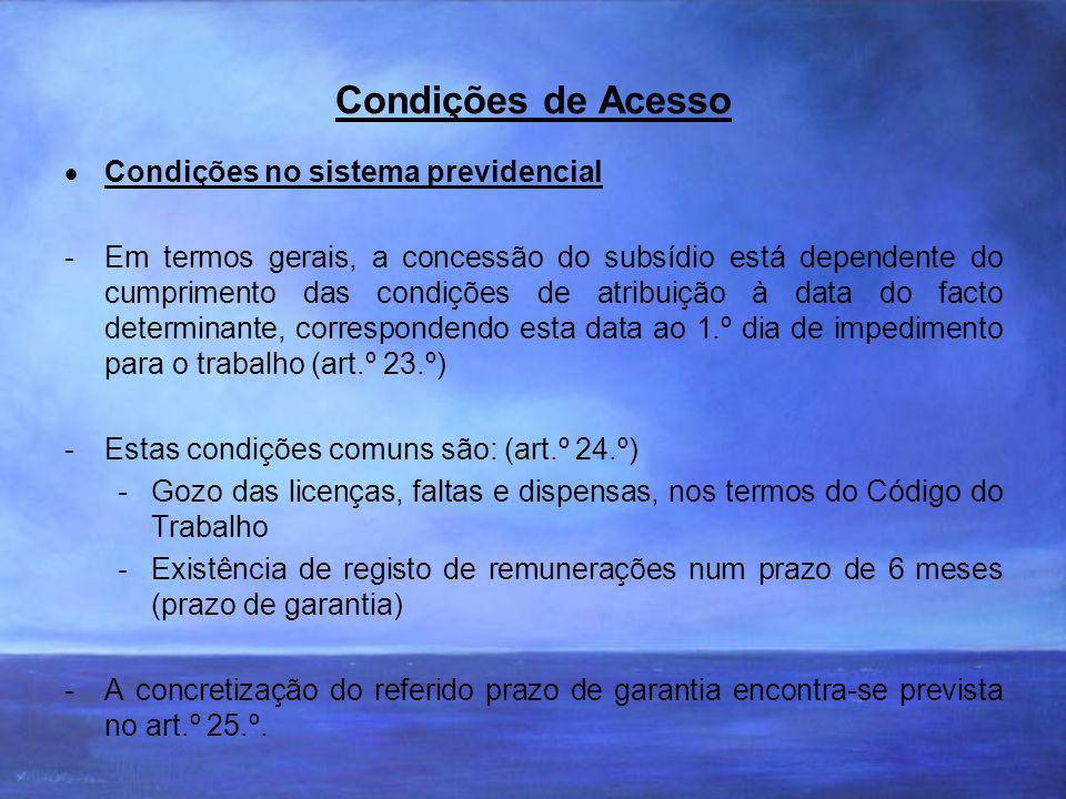 Condições de Acesso Condições no sistema previdencial