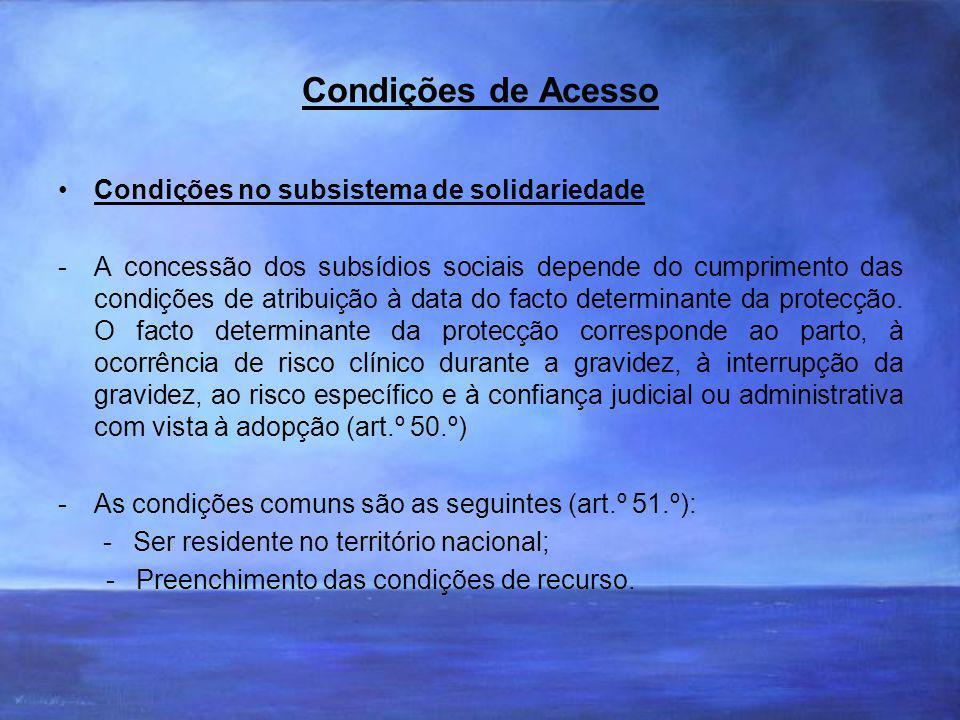 Condições de Acesso Condições no subsistema de solidariedade