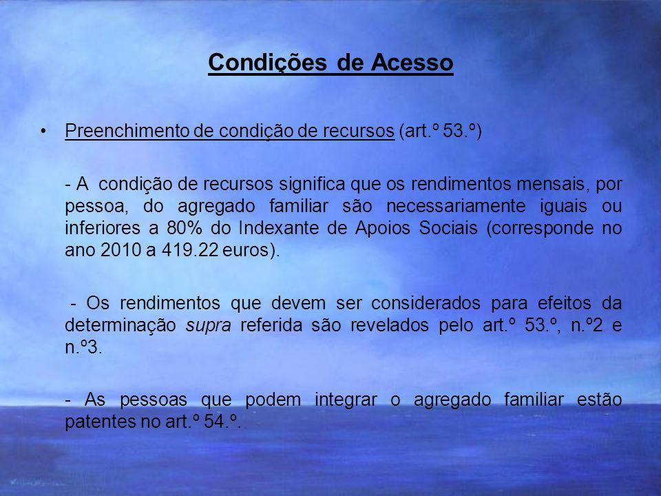 Condições de Acesso Preenchimento de condição de recursos (art.º 53.º)