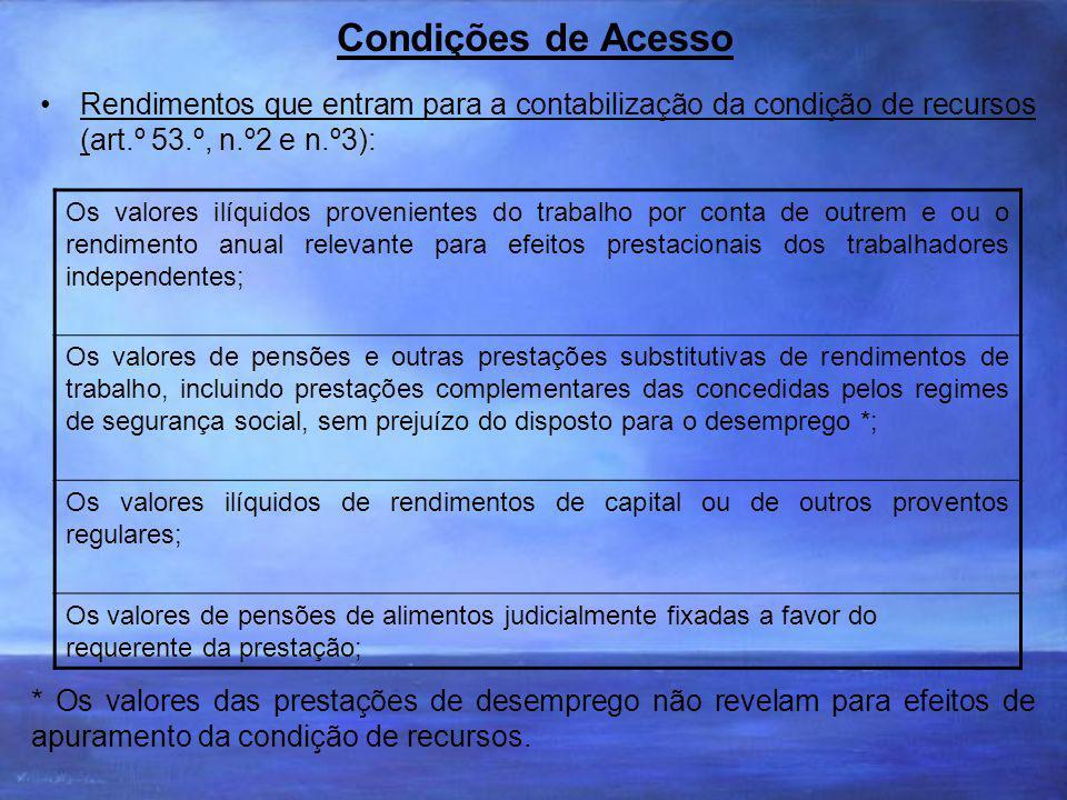 Condições de Acesso Rendimentos que entram para a contabilização da condição de recursos (art.º 53.º, n.º2 e n.º3):