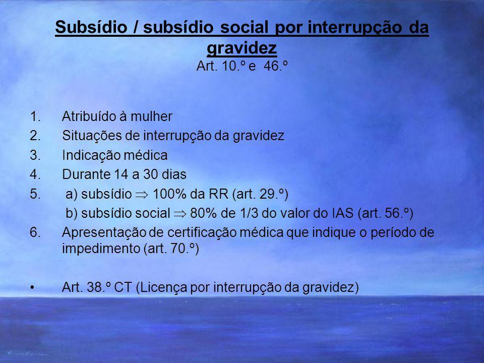 Subsídio / subsídio social por interrupção da gravidez Art. 10. º e 46