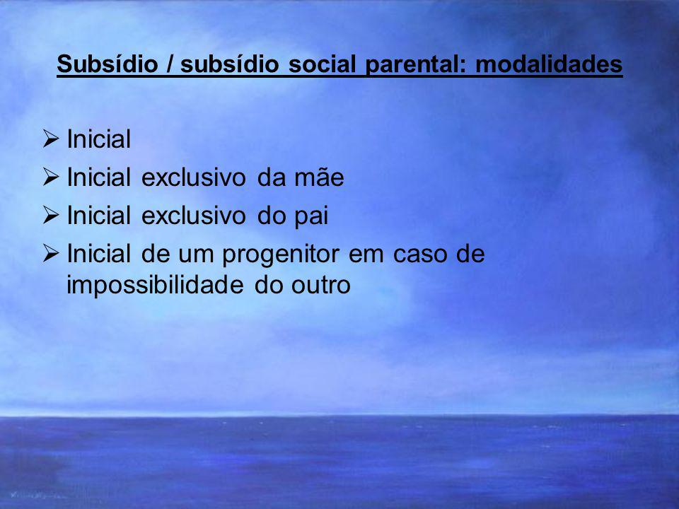 Subsídio / subsídio social parental: modalidades