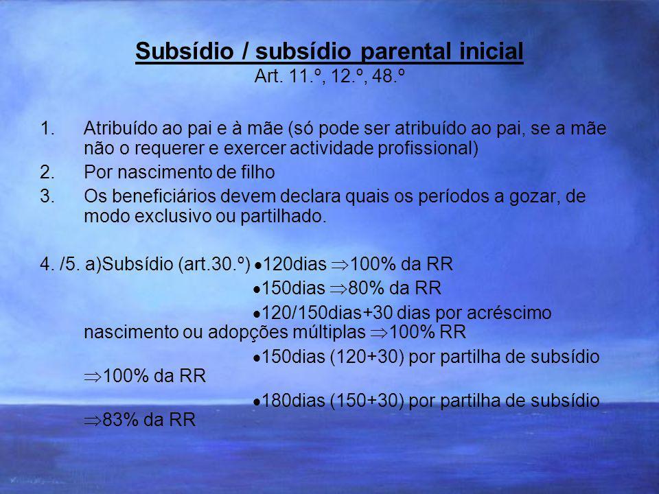 Subsídio / subsídio parental inicial Art. 11.º, 12.º, 48.º