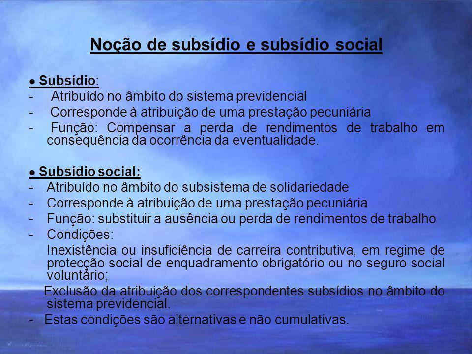 Noção de subsídio e subsídio social