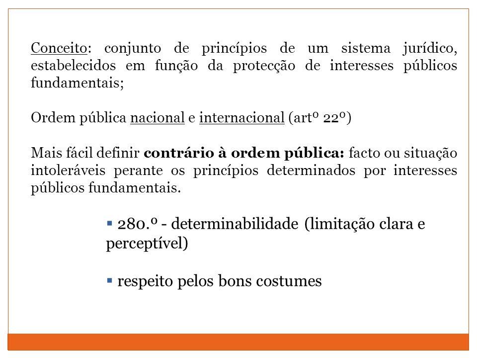 280.º - determinabilidade (limitação clara e perceptível)