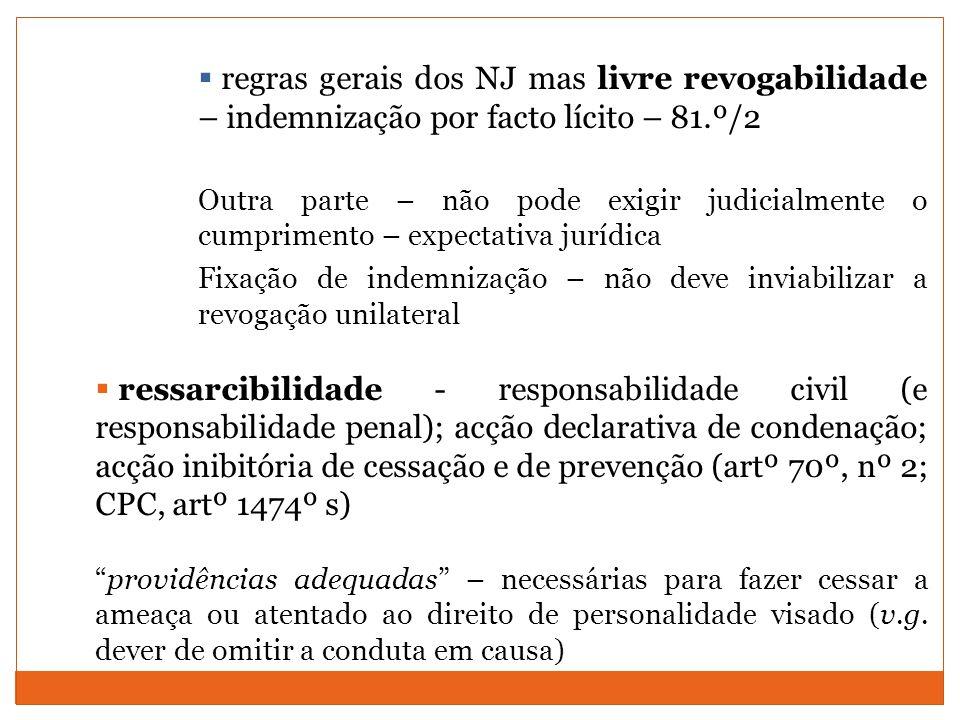 regras gerais dos NJ mas livre revogabilidade – indemnização por facto lícito – 81.º/2