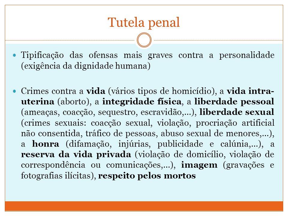 Tutela penal Tipificação das ofensas mais graves contra a personalidade (exigência da dignidade humana)