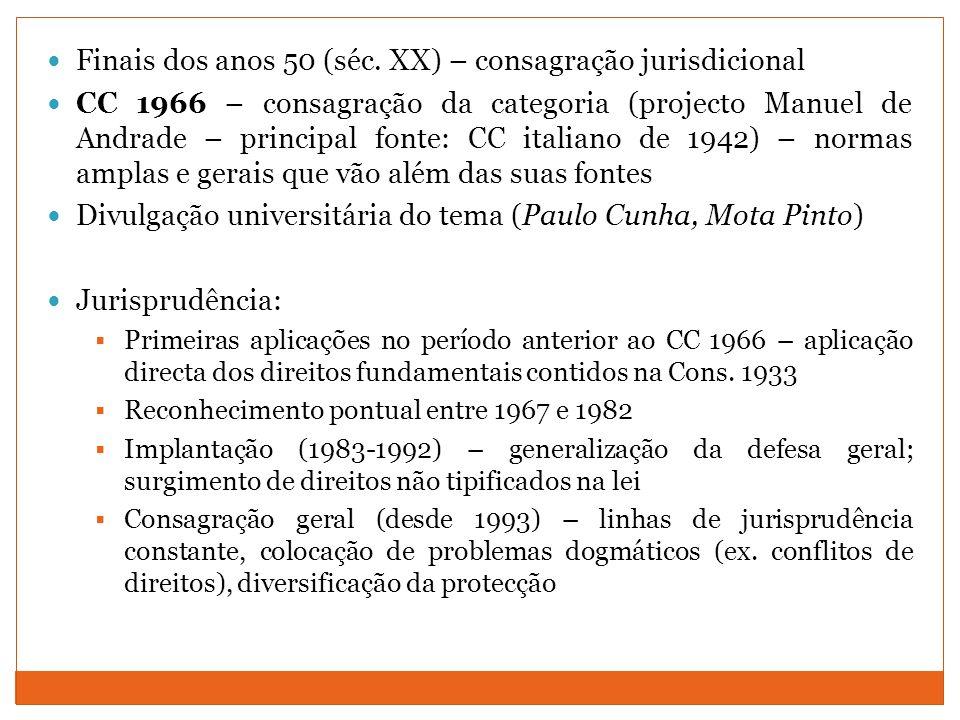 Finais dos anos 50 (séc. XX) – consagração jurisdicional