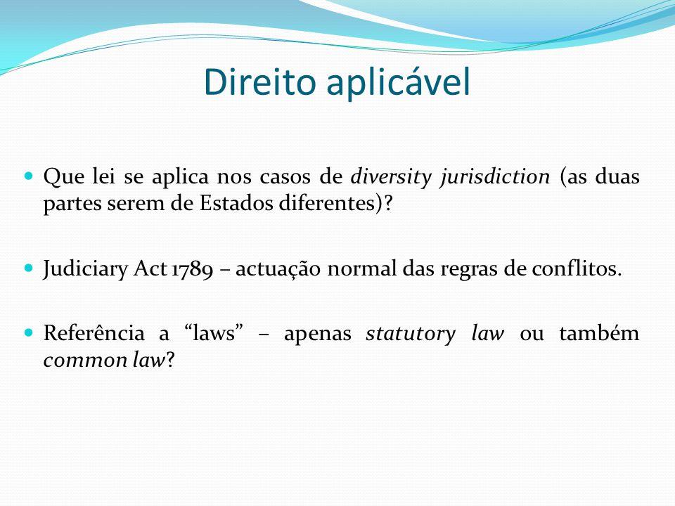 Direito aplicável Que lei se aplica nos casos de diversity jurisdiction (as duas partes serem de Estados diferentes)