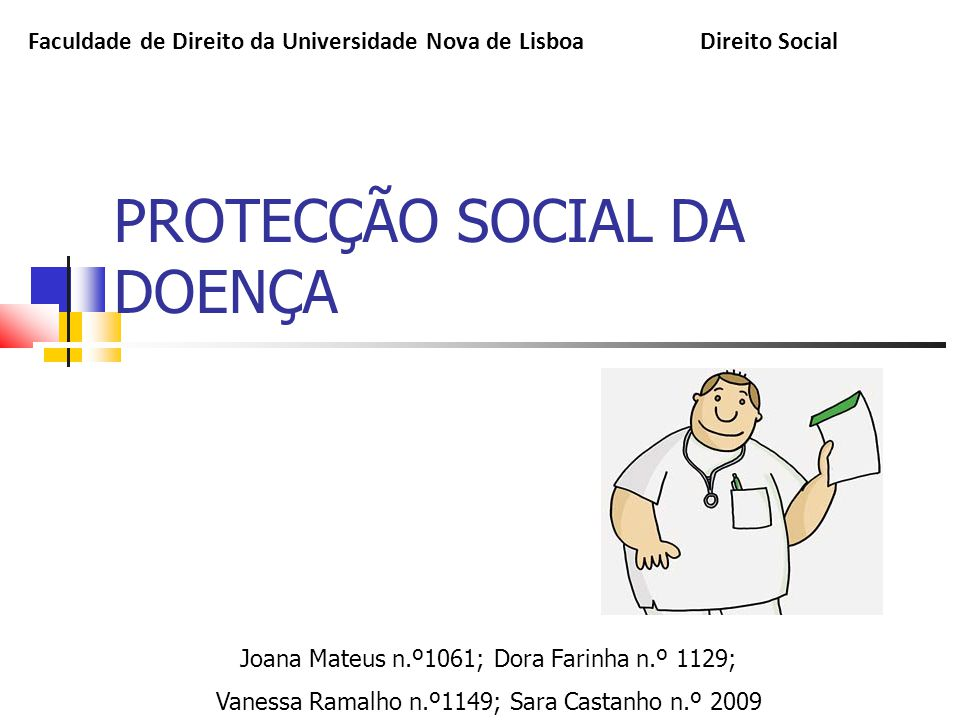 PROTECÇÃO SOCIAL DA DOENÇA