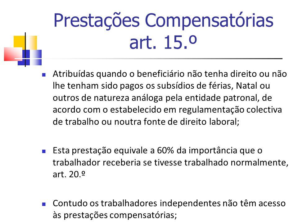 Prestações Compensatórias art. 15.º