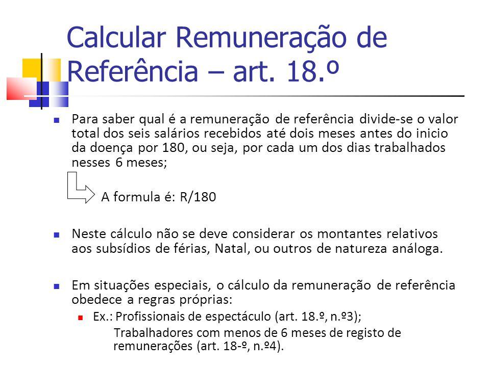 Calcular Remuneração de Referência – art. 18.º