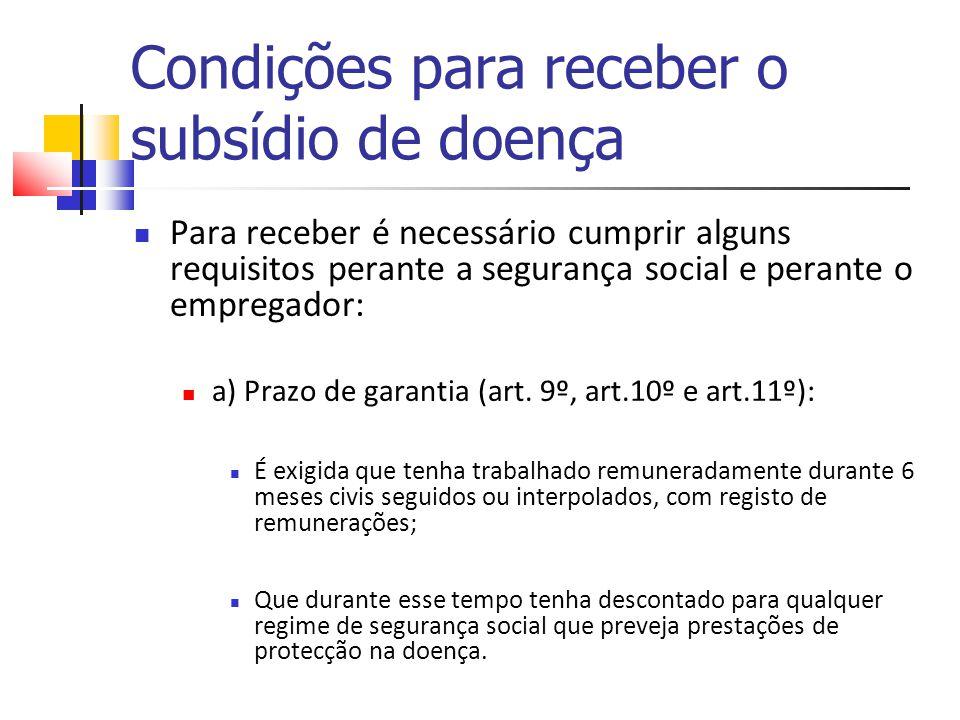 Condições para receber o subsídio de doença