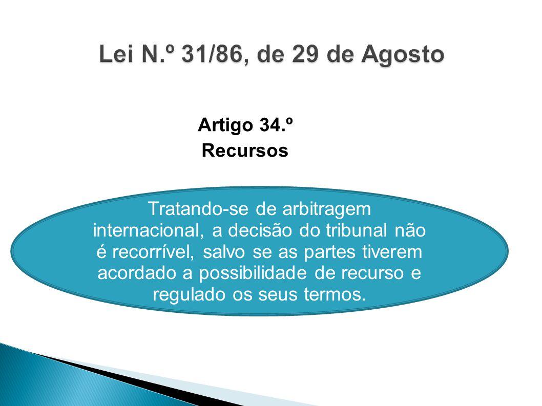 Lei N.º 31/86, de 29 de Agosto Artigo 34.º Recursos