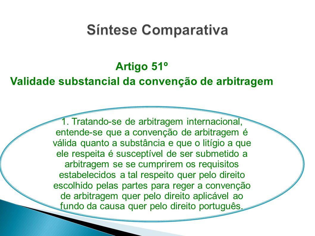 Artigo 51º Validade substancial da convenção de arbitragem