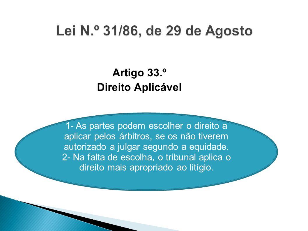 Artigo 33.º Direito Aplicável