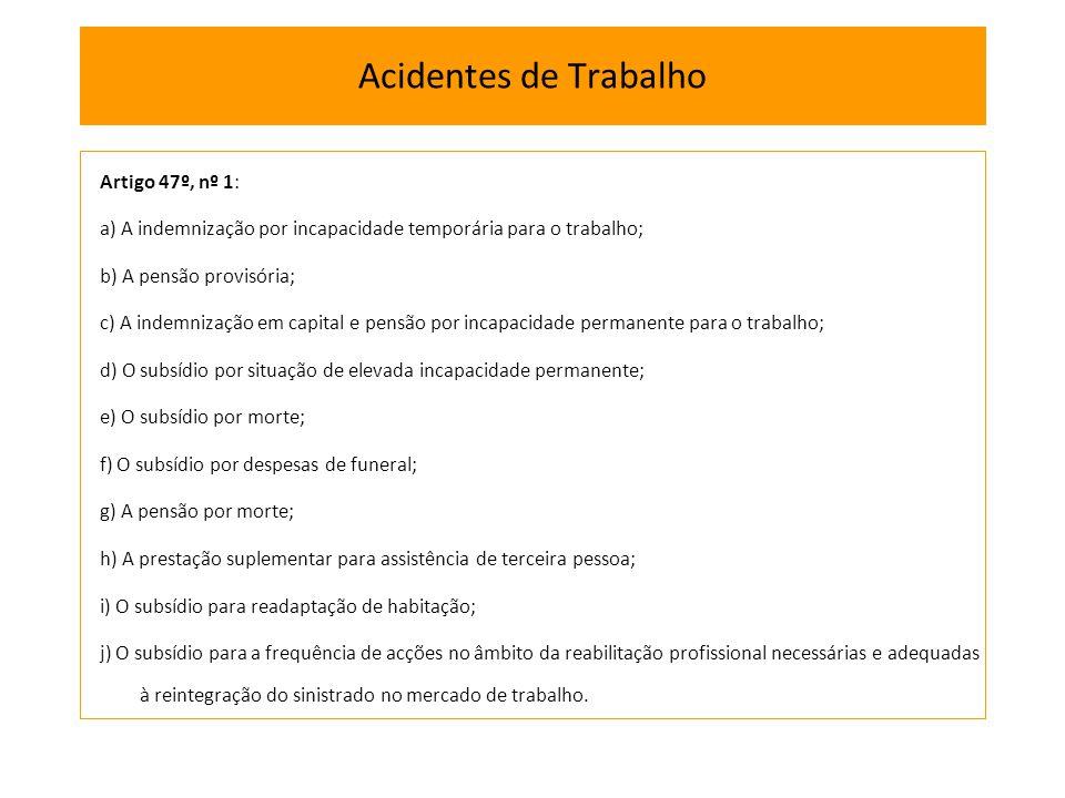 Acidentes de Trabalho Artigo 47º, nº 1: