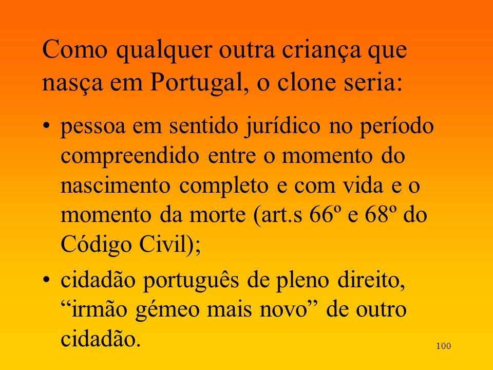 Como qualquer outra criança que nasça em Portugal, o clone seria:
