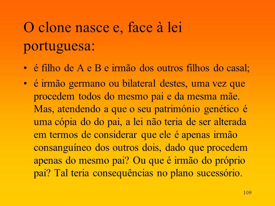 O clone nasce e, face à lei portuguesa: