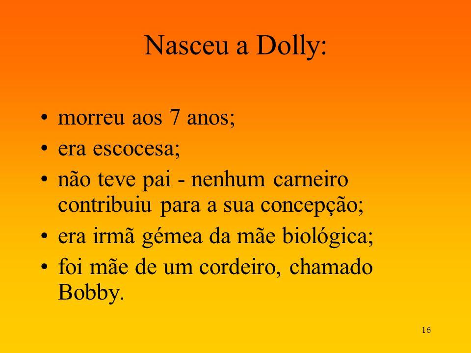 Nasceu a Dolly: morreu aos 7 anos; era escocesa;
