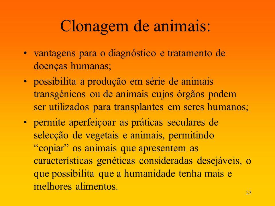 Clonagem de animais: vantagens para o diagnóstico e tratamento de doenças humanas;