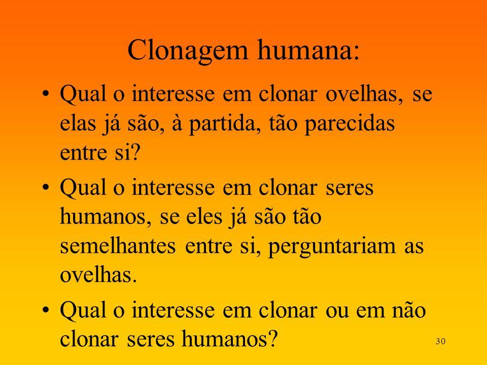 Clonagem humana: Qual o interesse em clonar ovelhas, se elas já são, à partida, tão parecidas entre si