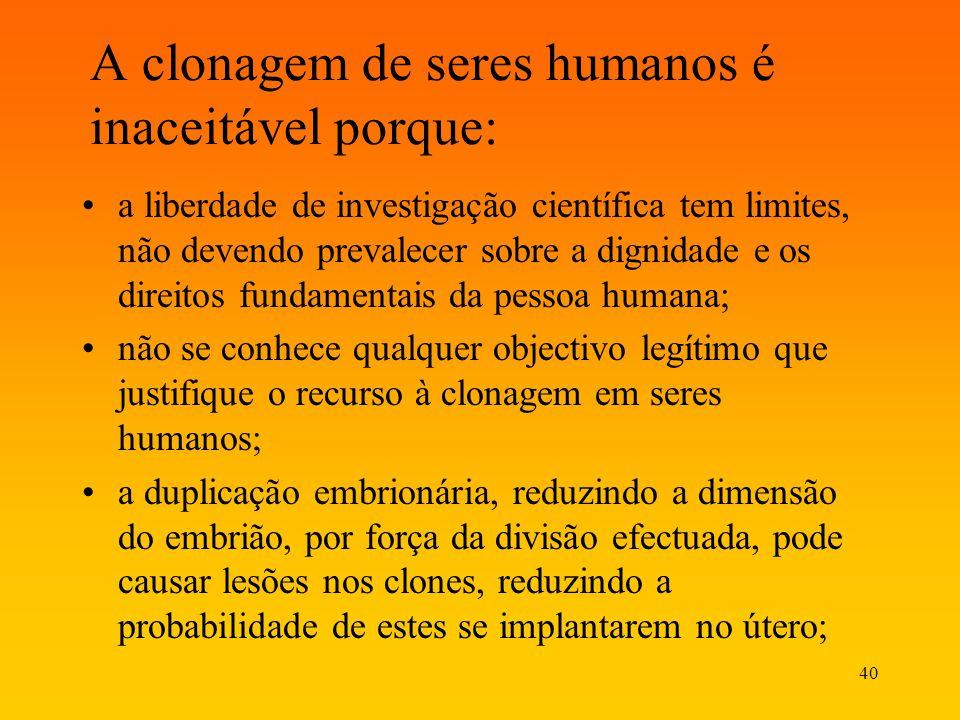 A clonagem de seres humanos é inaceitável porque: