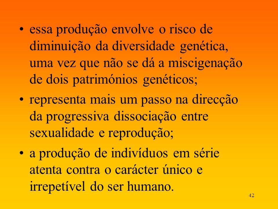 essa produção envolve o risco de diminuição da diversidade genética, uma vez que não se dá a miscigenação de dois patrimónios genéticos;