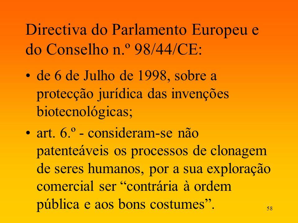 Directiva do Parlamento Europeu e do Conselho n.º 98/44/CE: