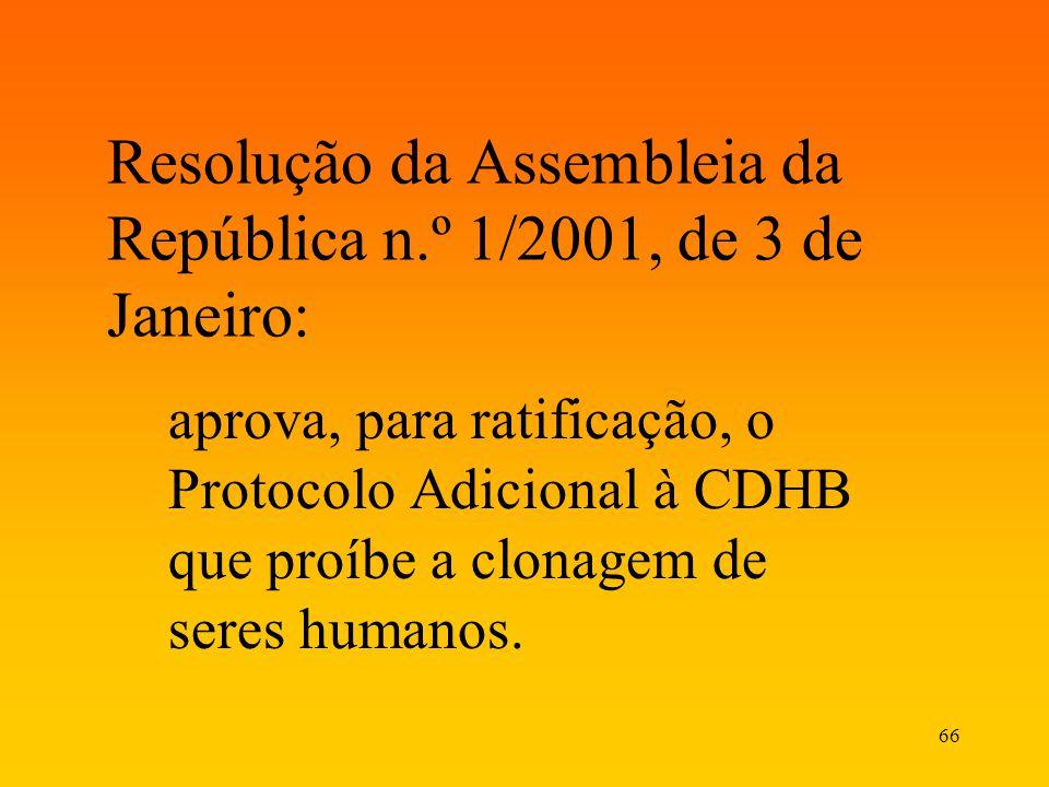 Resolução da Assembleia da República n.º 1/2001, de 3 de Janeiro: