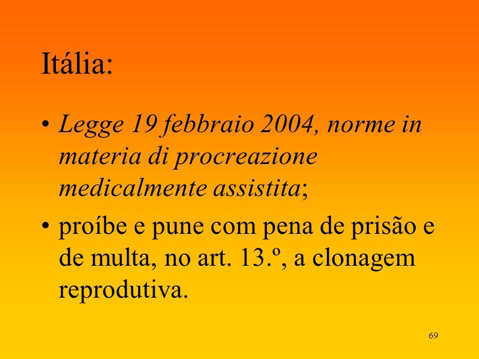 Itália: Legge 19 febbraio 2004, norme in materia di procreazione medicalmente assistita;