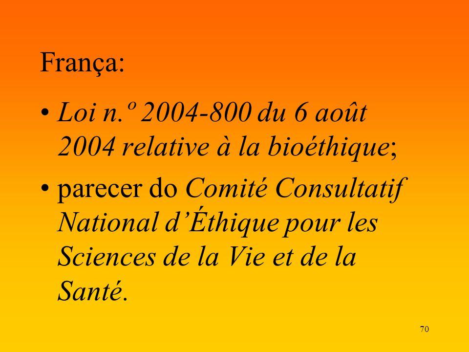 França: Loi n.º 2004-800 du 6 août 2004 relative à la bioéthique;