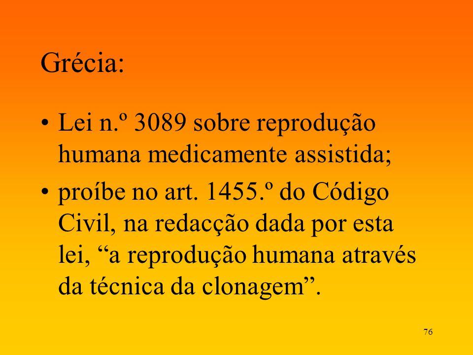Grécia: Lei n.º 3089 sobre reprodução humana medicamente assistida;
