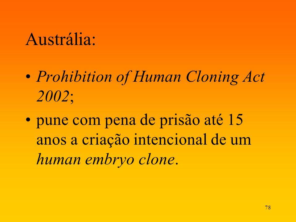 Austrália: Prohibition of Human Cloning Act 2002;