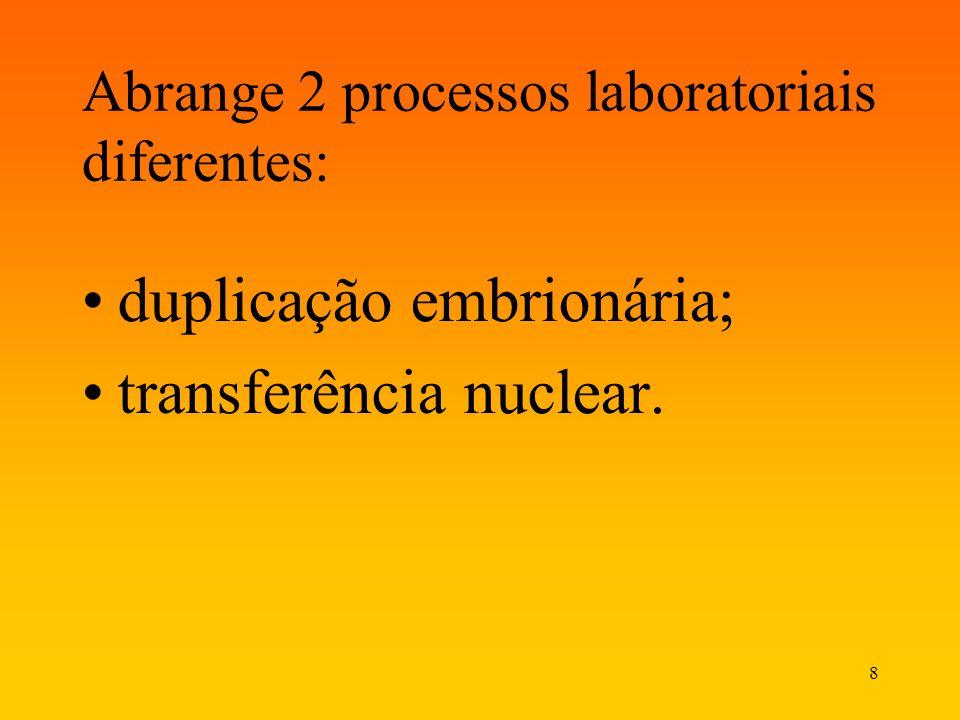 Abrange 2 processos laboratoriais diferentes: