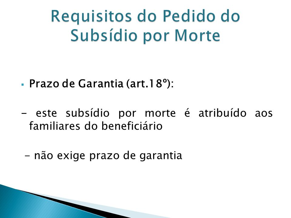Requisitos do Pedido do Subsídio por Morte