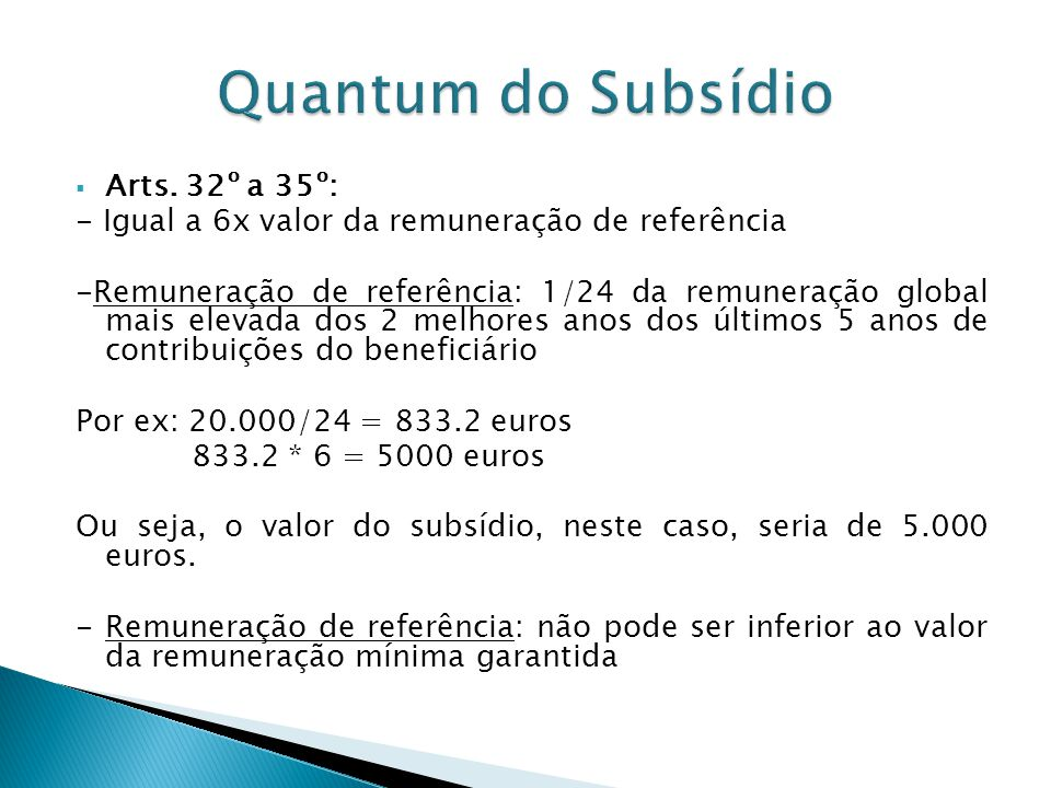 Quantum do Subsídio Arts. 32º a 35º: