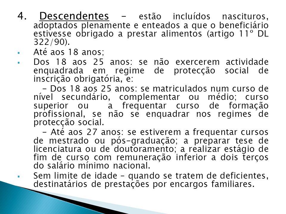4. Descendentes – estão incluídos nascituros, adoptados plenamente e enteados a que o beneficiário estivesse obrigado a prestar alimentos (artigo 11º DL 322/90).