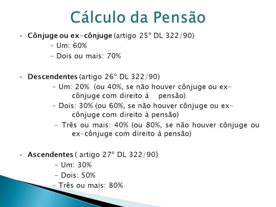 Cálculo da Pensão Cônjuge ou ex-cônjuge (artigo 25º DL 322/90)